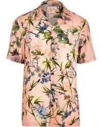 Big and tall pink floral short sleeve shirt medium 3739463