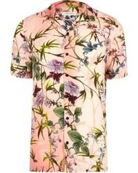 Pink floral revere collar short sleeve shirt medium 3739464