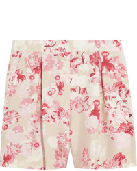Giambattista Valli Floral Print Silk Shantung Shorts