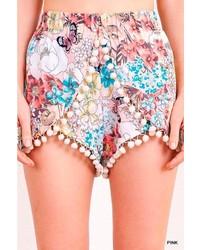 Umgee Floral Tassel Shorts