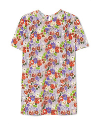 Prada Pleated Floral Print Silk De Chine Top
