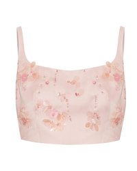 Prada Cropped Appliqud Silk Gazar Top