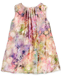 Helena Sleeveless Floral Watercolor Shift Dress Pink Size 7 14