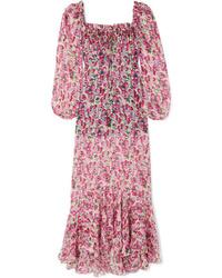 Pink Floral Silk Maxi Dress