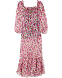 Raquel Diniz Alice Floral Print Silk Chiffon Maxi Dress