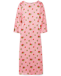 BERNADETTE Dakota Floral Print Stretch Silk Satin Maxi Dress
