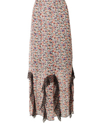 Anna Sui Scattered Flowers Point Dmed Floral Print Silk Chiffon Midi Skirt