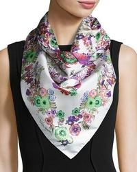 Roberto Cavalli Floral Silk Satin Square Scarf Pinkwhite