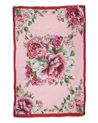 Dolce & Gabbana Rose Print Silk Scarf