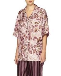 Burberry Floral Print Mulberry Silk Shirt