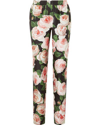 Dolce & Gabbana Floral Print Silk Charmeuse Tapered Pants
