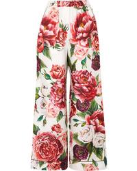 Dolce & Gabbana Floral Print Silk Twill Wide Leg Pants