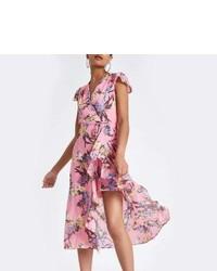 River Island Pink Floral Frill Split Hem Maxi Dress