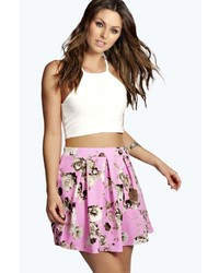Boohoo nelly bold floral box pleat skater skirt medium 279581