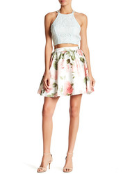 Speechless Lace Top And Floral Print Skirt Set