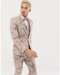 ASOS DESIGN Skinny Suit Jacket In Printed Pink Floral Wool Mix