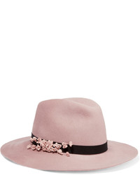 Geogina floral appliqud wool felt fedora blush medium 696651