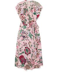Tory Burch Adelia Ruffled Floral Print Wrap Dress