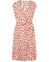 Diane von Furstenberg Goldie Floral Print Crepe Wrap Dress