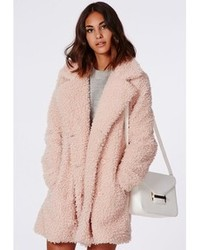Missguided celine oversized curly wool coat pink medium 87639