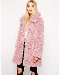 Unreal fur de fur coat in dusty pink medium 87640