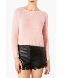Pink Fluffy Crew-neck Sweater