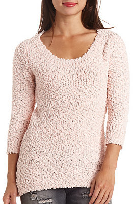 24 Charlotte Russe Popcorn Knit Textured Pullover Tunic Sweater