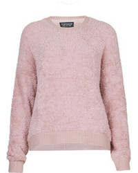 Pink Fluffy Crew-neck Sweaters for Women | Women's Fashion