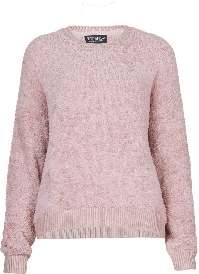 Topshop Fluffy Soft Sweater In Dusty Pink With Ribbed Cuffs Hem ...
