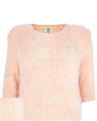 Light pink fluffy 34 sleeve sweater medium 97497