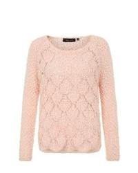 New Look Pink Diamond Fluffy Pointelle Knit Jumper