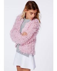 Missguided catriona loop knit shrug cardigan pale pink medium 112517