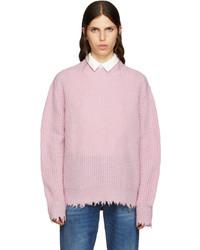 MSGM Pink Wool Fringed Sweater