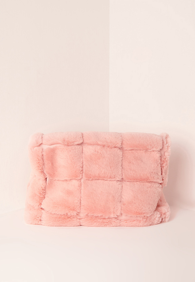 3025a7d03 Missguided Faux Fur Roll Top Cuddle Clutch Pink, $37 | Missguided ...