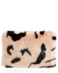 Shrimps hubbard faux fur zip clutch pink medium 1159894
