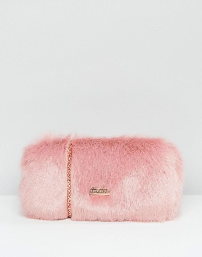 Skinnydip Faux Fur Box Clutch Bag In Pink