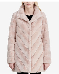 Calvin Klein Chevron Quilted Faux Fur Coat
