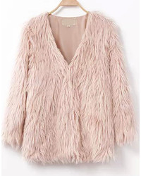 Collarless Buckled Faux Fur Pink Coat