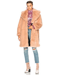 MSGM Faux Fur Coat In Pink