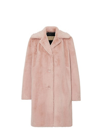 Burberry Faux Fur Single Breasted Coat