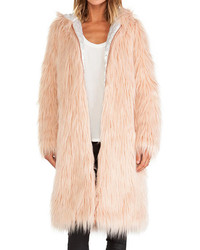Faux Fur Zipped Pocketed Coat