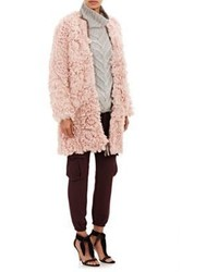 Ulla Johnson Fur Hawk Coat Pink Size Na