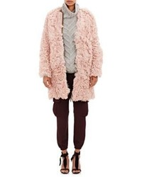 Ulla Johnson Fur Hawk Coat Pink Size Na