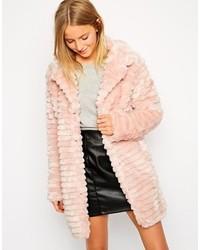 Brave Soul Longline Faux Fur Coat