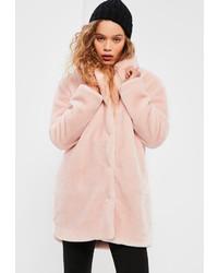 Missguided Petite Pink Faux Fur Coat