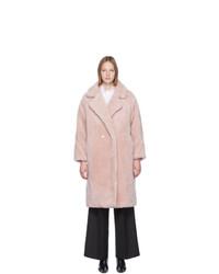 Yves Salomon Meteo Pink Woven Wool Coat