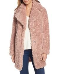 Teddy bear notch collar faux fur coat medium 6748263