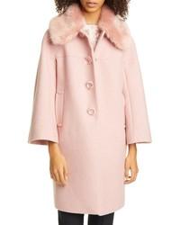 kate spade new york Metallic Wool Blend Twill Coat With Detachable Faux Fur Collar