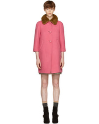 Prada Pink Fur Collar Camel Coat