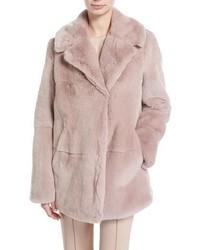 A.L.C. Stone Notched Collar Long Sleeve Rabbit Fur Coat